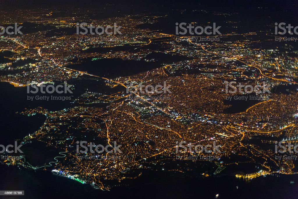 Night view of Istanbul stock photo