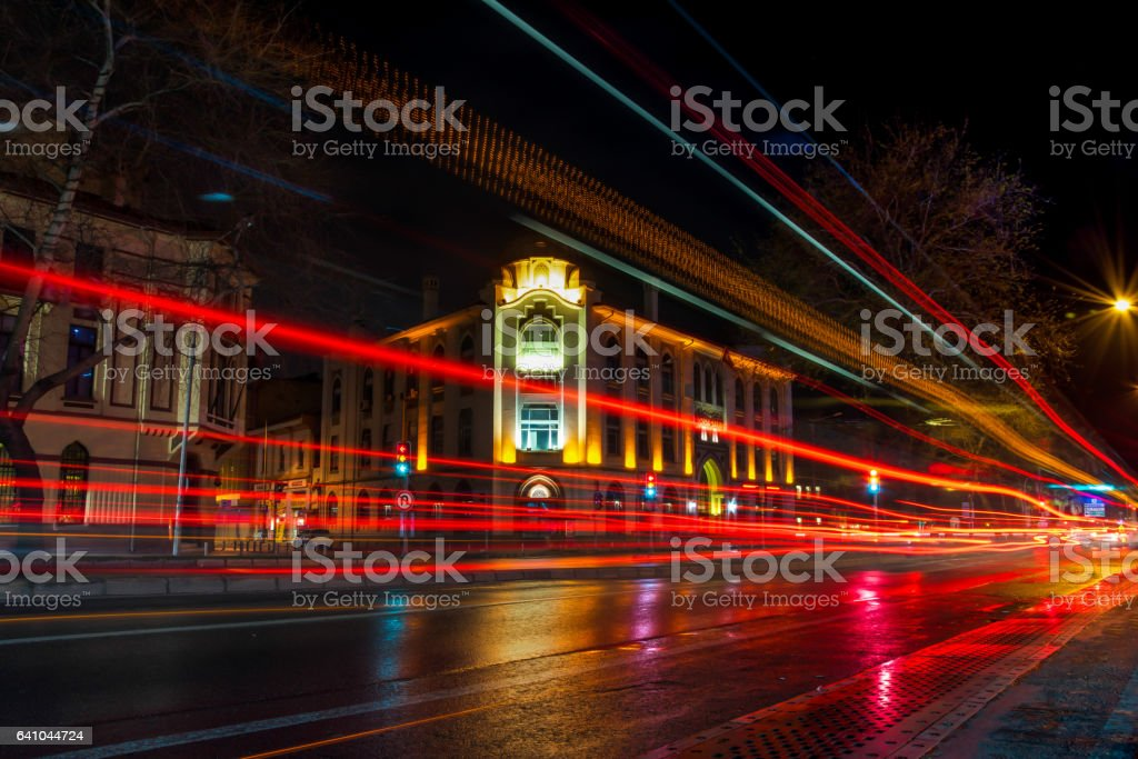 Night view of Izmir Stock building stock photo