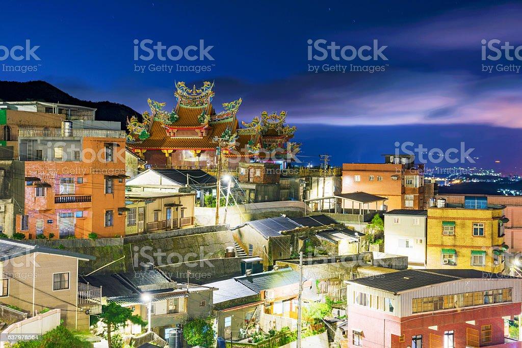 Night view of Jiufen architecture stock photo