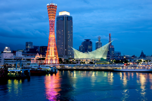 Night view of Kobe Port, Japan