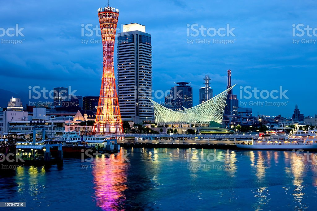 Night view of Kobe Port, Japan stock photo