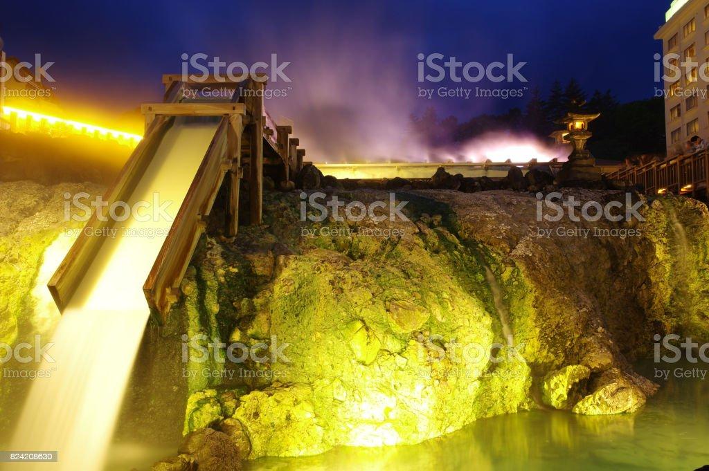草津温泉の夜景 ストックフォト