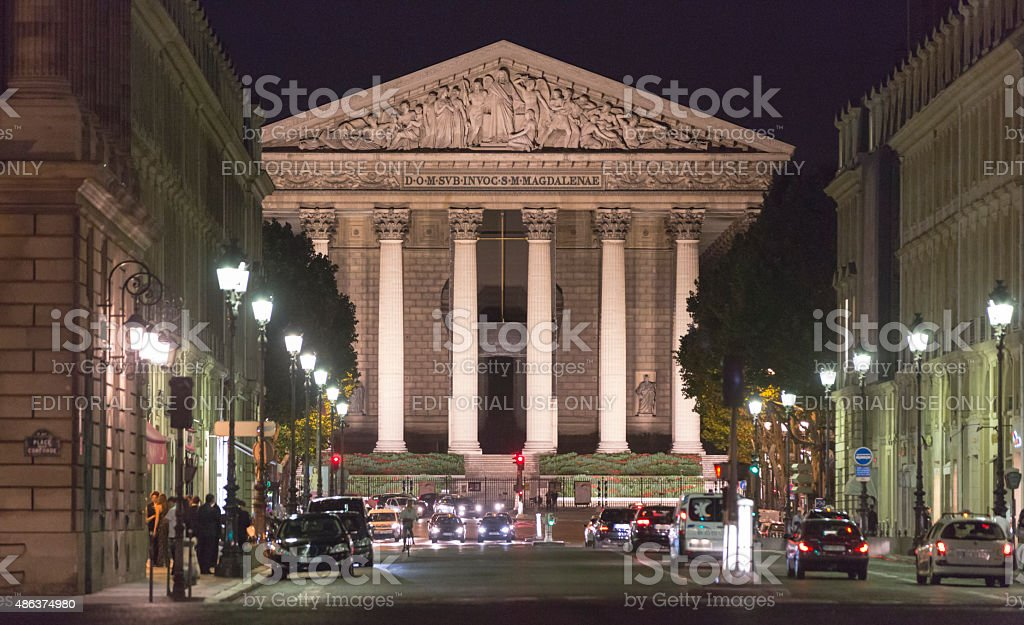 Night view of La Madeleine and Rue Royale, Paris stock photo
