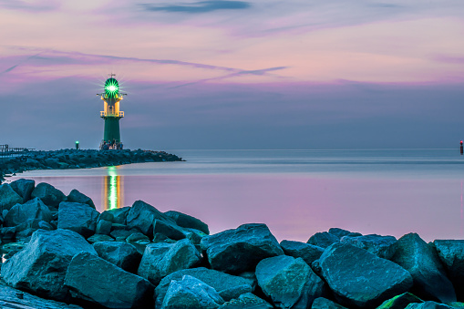night view of lighthouse of Warnemuende on the Baltic Sea at the