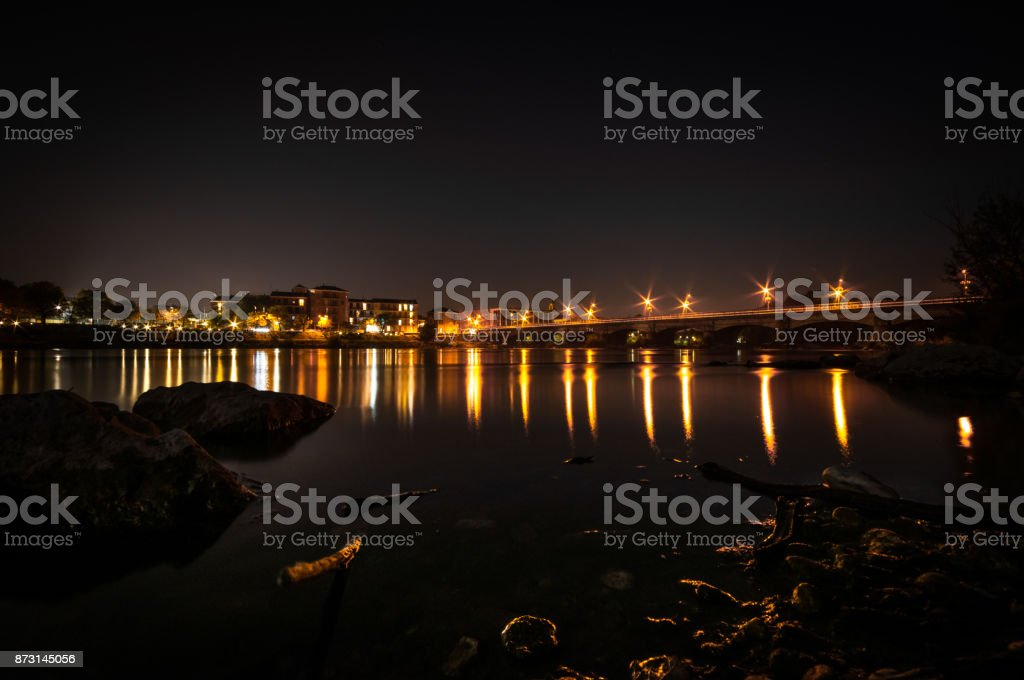 Night view of Lodi Bridge stock photo
