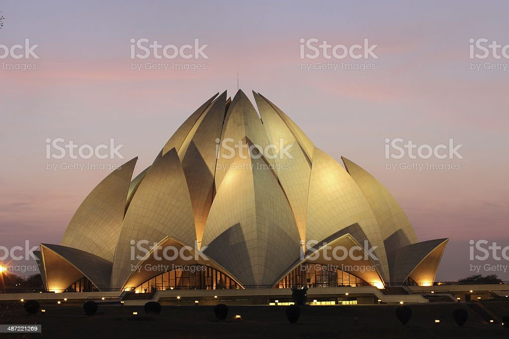 Night View of Lotus Temple stock photo