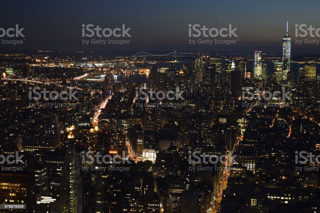 A Night View of Lower Manhattan from Empire State Building royalty-free stock photo