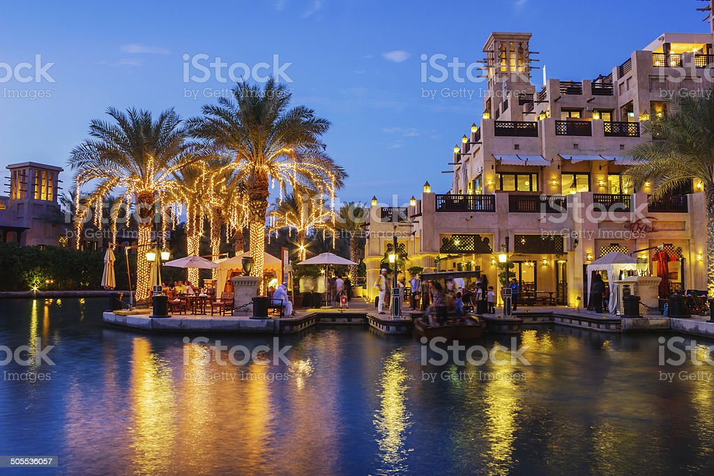 Night view of Madinat Jumeirah hotel stock photo