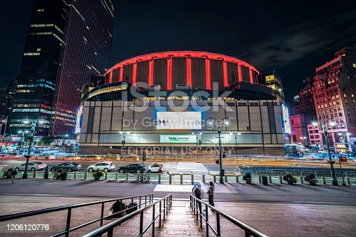 Night view of Madison Square Garden, a famous multi-purpose arena in Midtown Manhattan on October 13, 2019 in New York