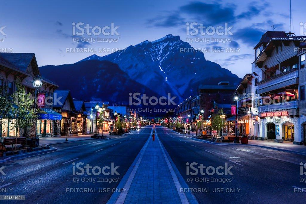 night view of Main strret of Banff townsite stock photo