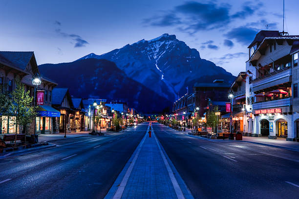 night view of Main strret of Banff townsite stock photo
