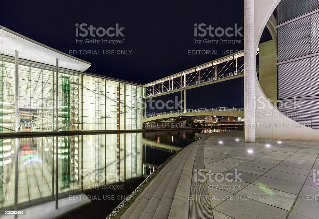 night view of Marie-Elisabeth-Luders-Haus and Paul Loebe House stock photo