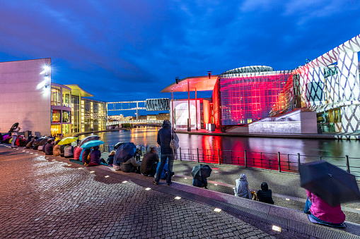 night view of Marie-Elisabeth-Luders-Haus in Berlin, film and light show. Berlin at night.