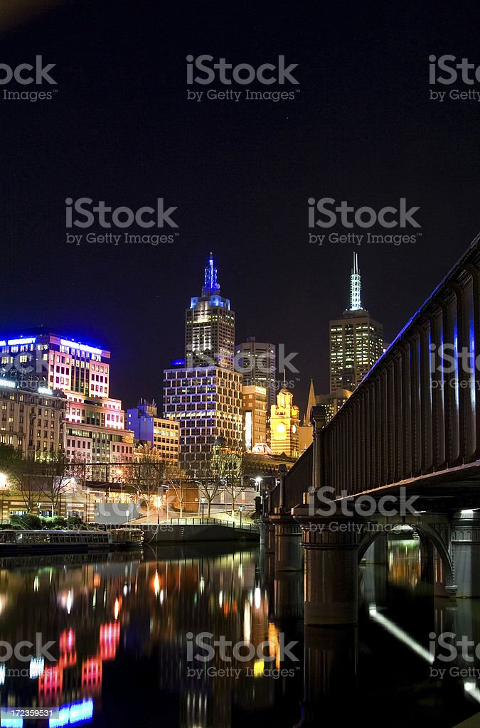 Night view of Melbourne city royalty-free stock photo