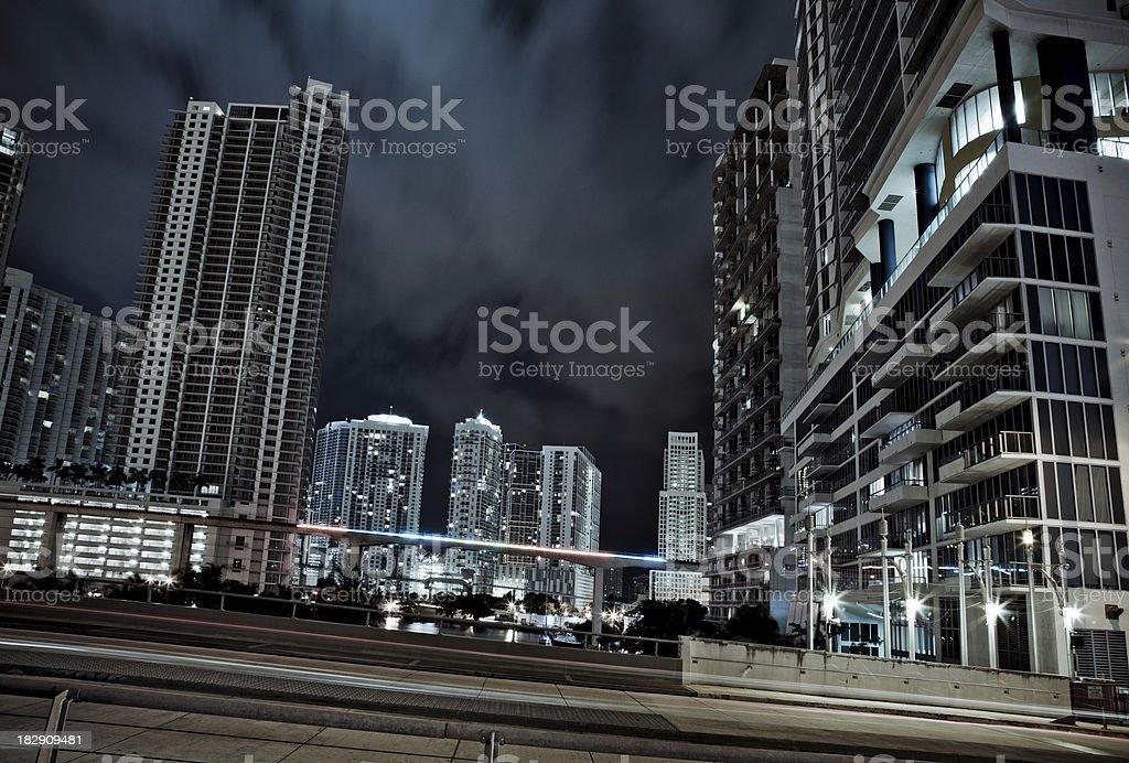 Night View of Miami, Brickell Area royalty-free stock photo