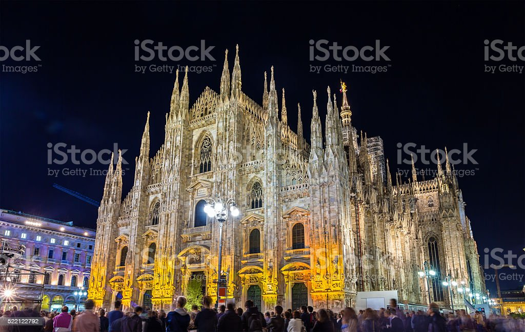 Night view of Milan Cathedral stock photo