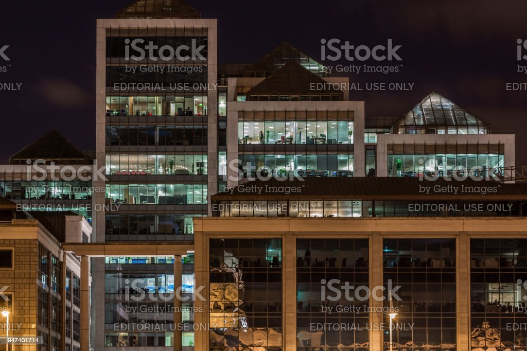 Night view of modern exterior office building in the city center of Dublin. royalty-free stock photo