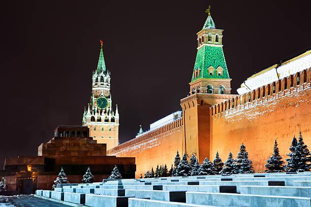 Night view of Moscow Kremlin in winter season stock photo