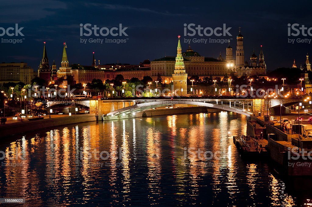 Night View of Moscva River and Kremlin royalty-free stock photo