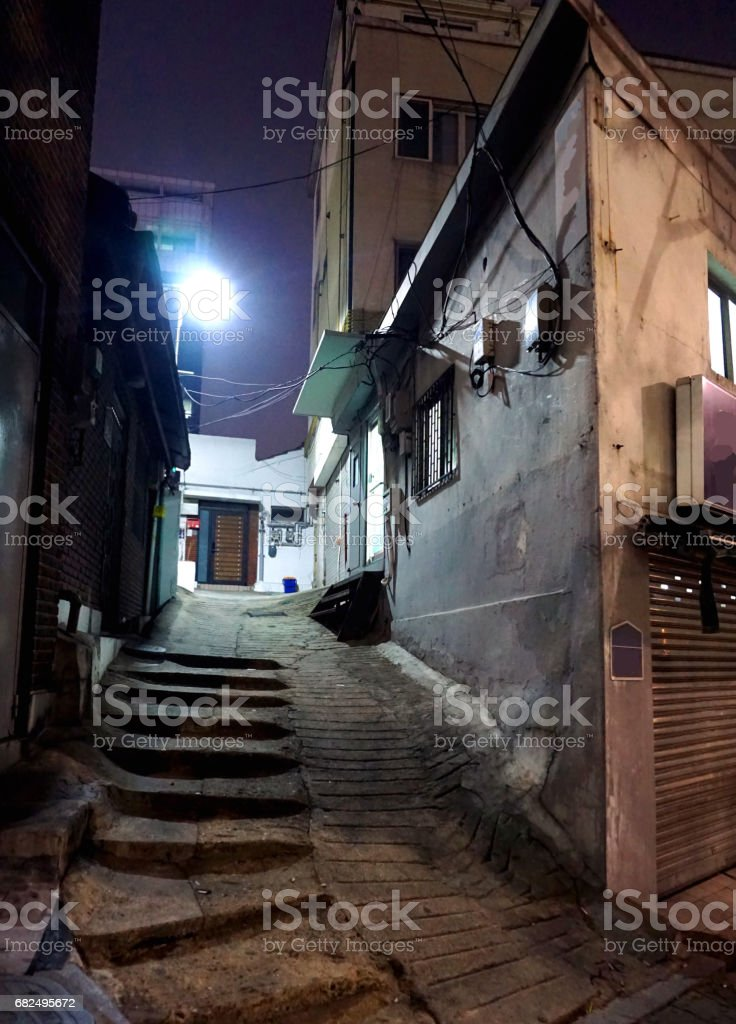 Night view of narrow rocky alleyway in Seoul royalty-free stock photo