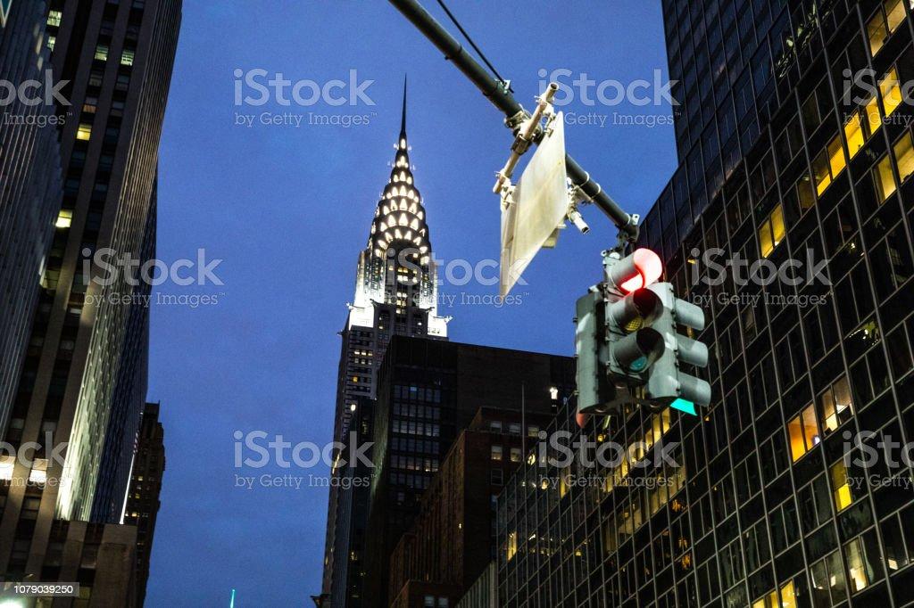 Night view of New York City midtown district stock photo