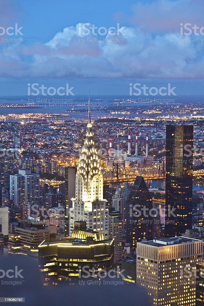 A night view of New York from the Empire State Building stock photo
