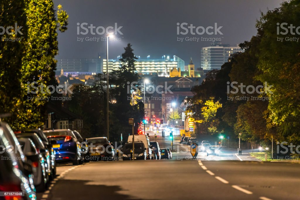 Night view of Northampton road with cityscape background stock photo