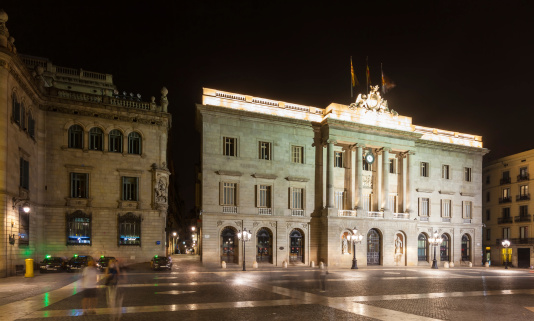 night view of old city hall.  Barcelona
