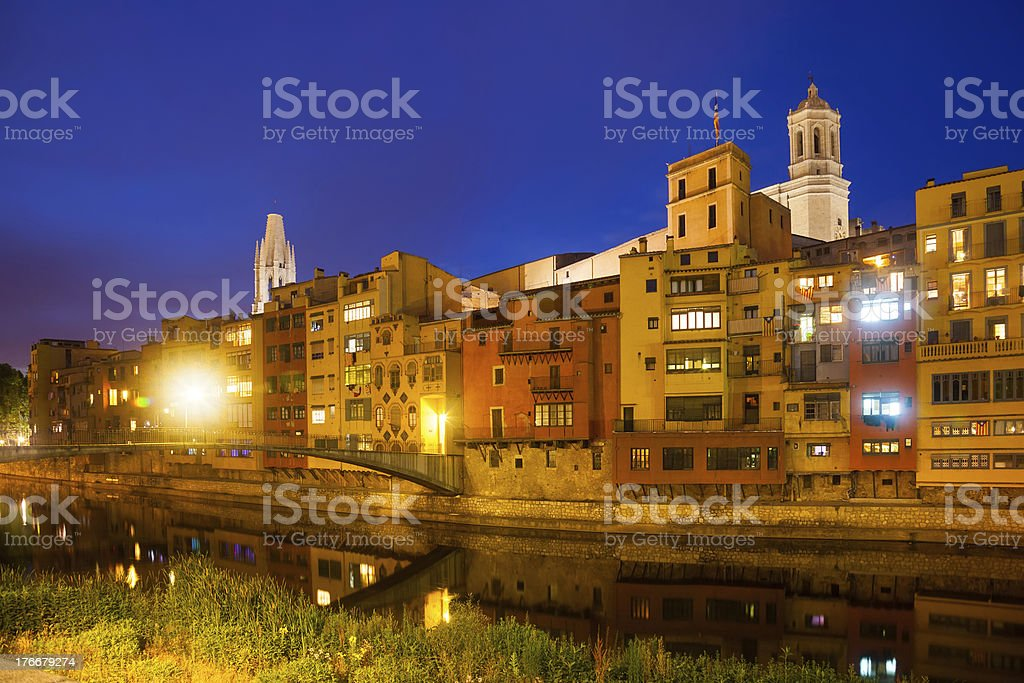 night view of  Onyar and picturesque houses in Girona royalty-free stock photo