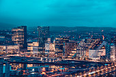 Night View Of Oslo City Center, Norway