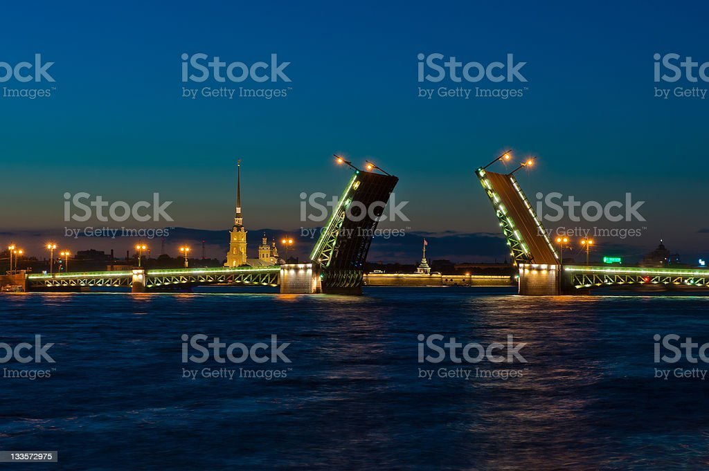 Night view of Palace Bridge, Saint Petersburg, Russia stock photo