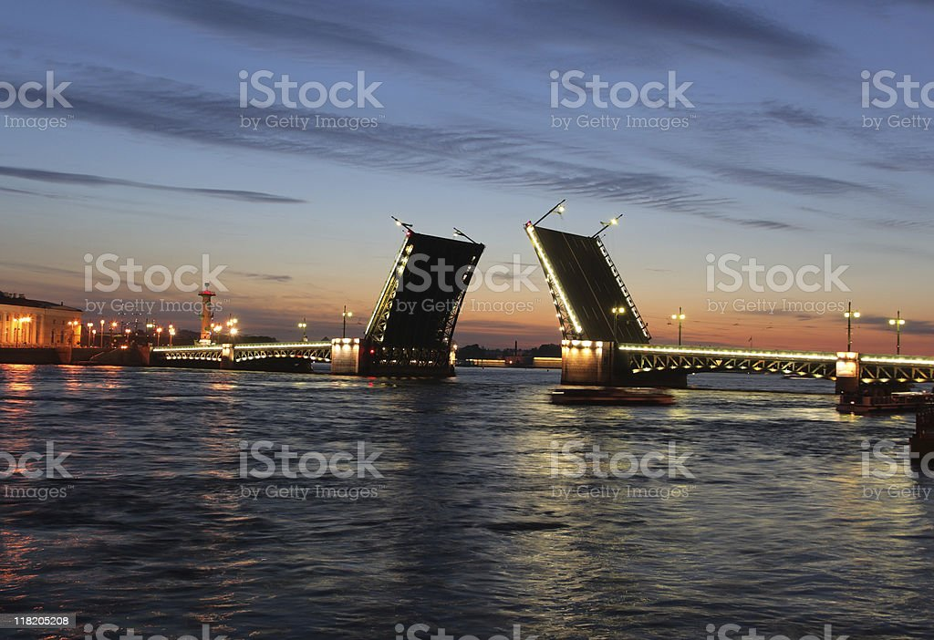 Night view of Palace Bridge. St Petersburg, Russia. stock photo