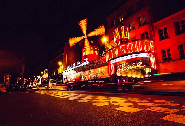 night view of paris moulin rouge cabaret. - montmatre utsikt bildbanksfoton och bilder