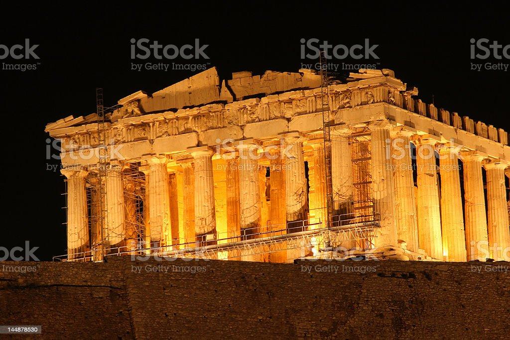 night view of parthenon royalty-free stock photo