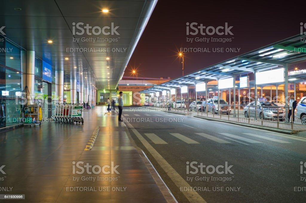 Hanoi, Vietnam - Mar 26, 2016: Night view of passenger pickup area in T1 International Terminal, Noi Bai International Airport stock photo