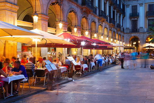night view of Placa Reial  in Barcelona