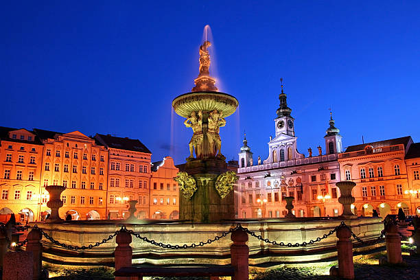 Night view of place in Ceske Budejovice, Czech Republic stock photo