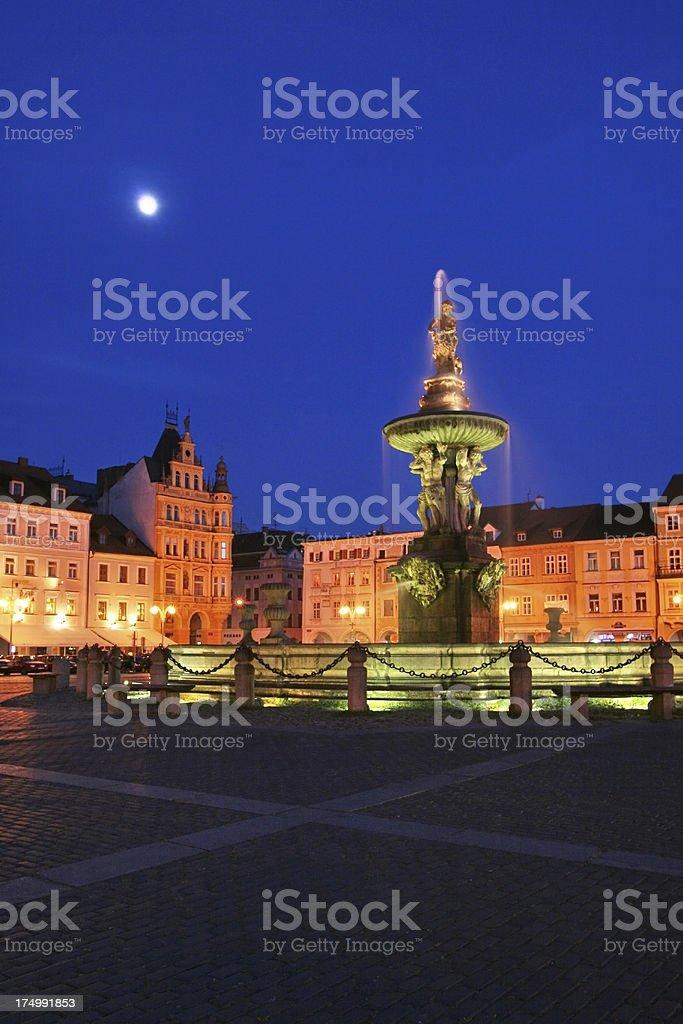 Night view of place in Ceske Budejovice, Czech Republic stock photo