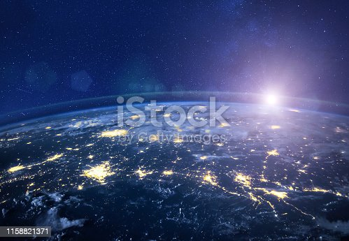 night view of planet Earth from space, beautiful high tech  background with sun and stars, closeup, original image furnished by NASA - https://images-assets.nasa.gov/image/iss040e090540/iss040e090540%7eorig.jpg