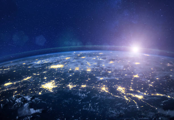 night view of planet Earth from space, beautiful high tech  background stock photo