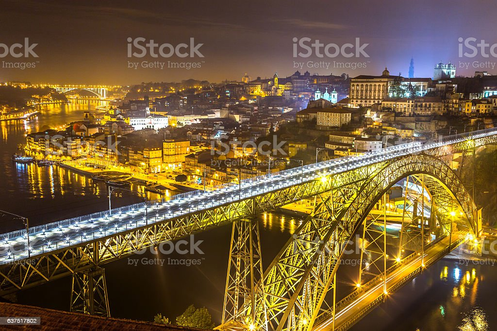 Night view of Porto, Portugal stock photo