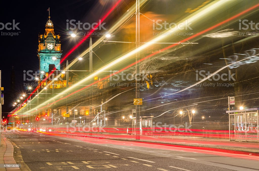 Night View of Princess Street in Edinburgh stock photo
