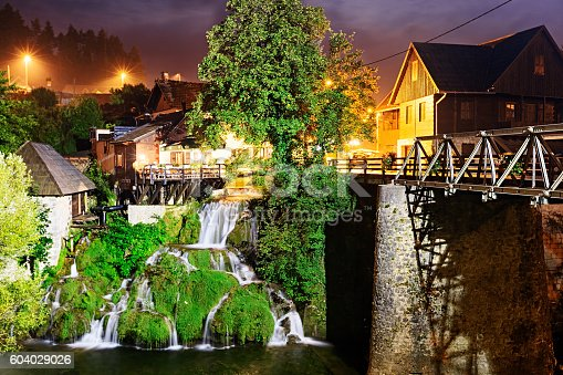 Night view of Rastoke, historic center of Croatian town Slunj