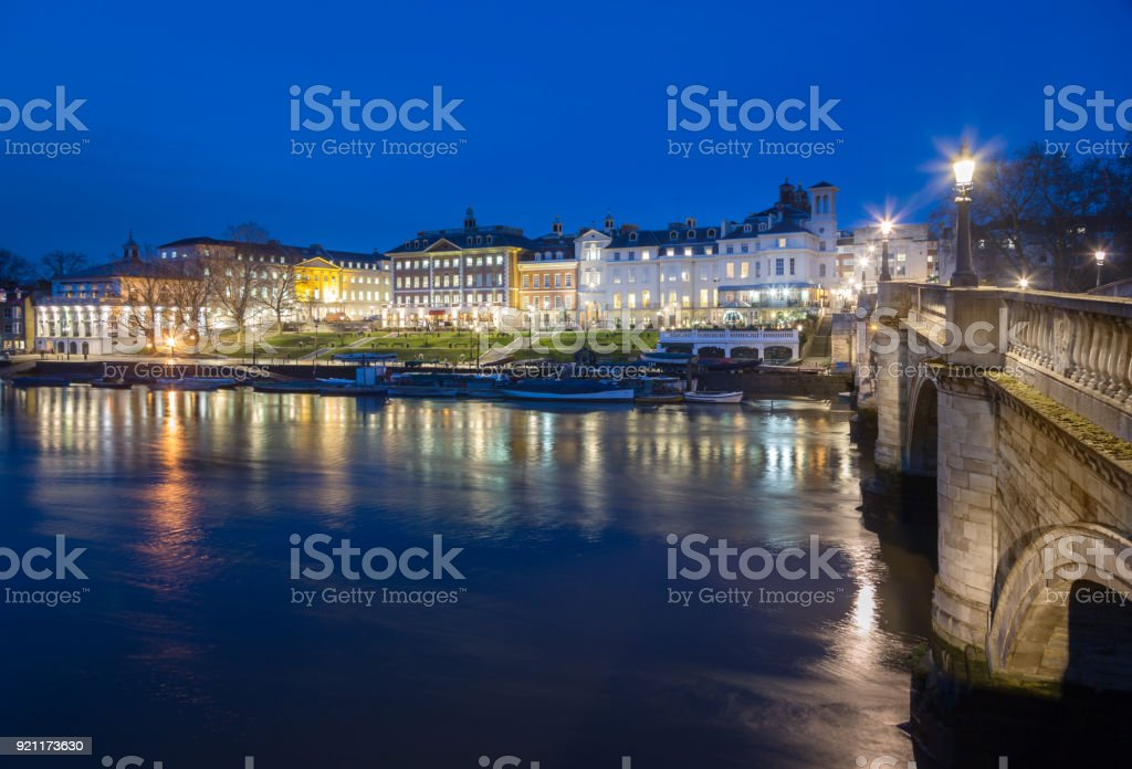 Night view of Richmond and Richmond Bridge, West London stock photo