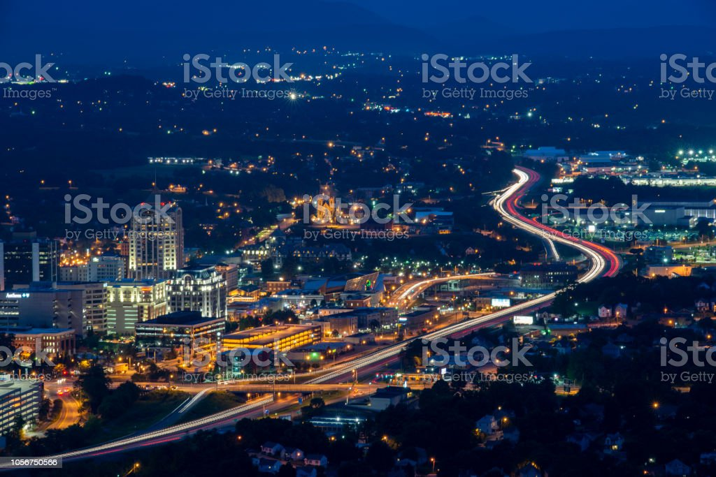 Night view  of Roanoke from Mill Mountain Park stock photo