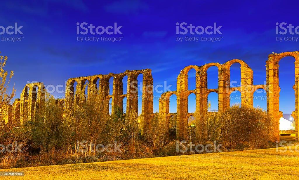 night view of  roman aqueduct at Merida stock photo