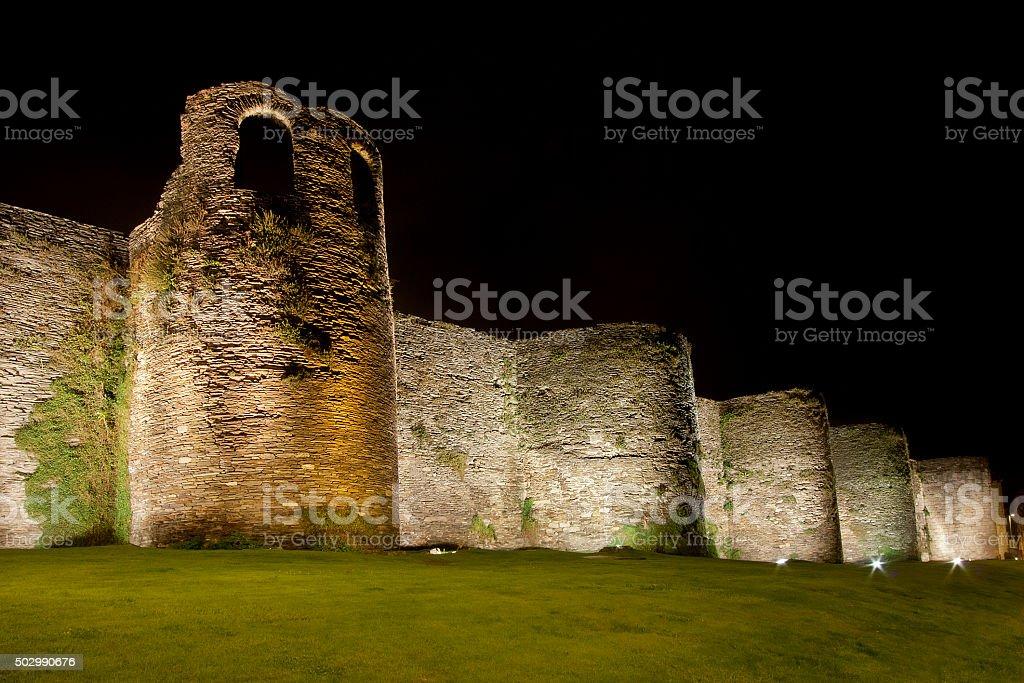 Night view of Roman stone wall in Lugo, Galicia,Spain stock photo