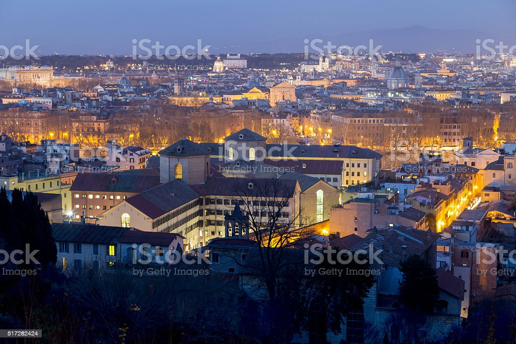 Night view of Rome, taken from above stock photo
