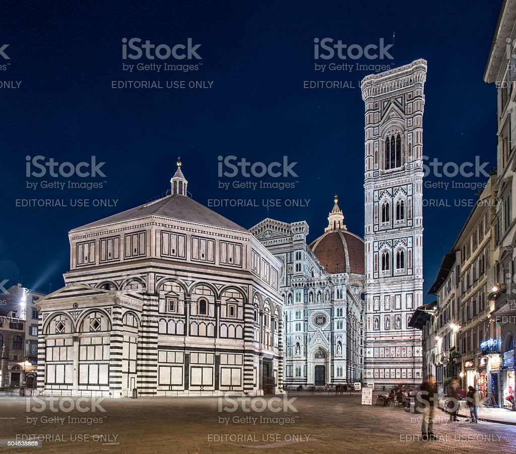 night view of Santa Maria del Fiore stock photo