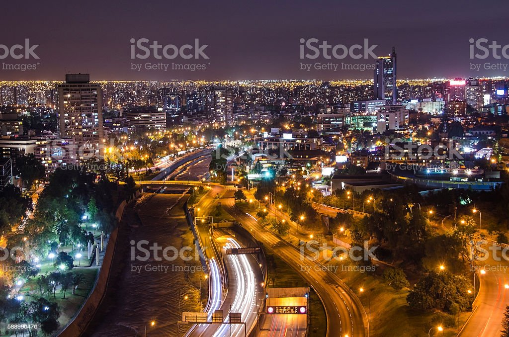 Night view of Santiago de Chile toward the east part stock photo
